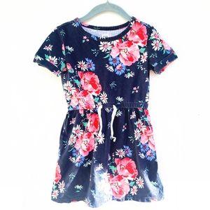 GAP girls navy pink floral soft cotton dress